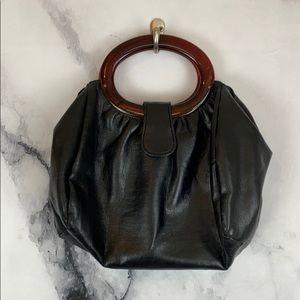 Vintage black circle handle handbag